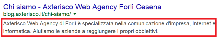 Meta Description di una pagina del Blog di Axterisco - Ricerca Google